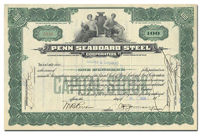 Penn Seaboard Steel Corporation Stock Certificate