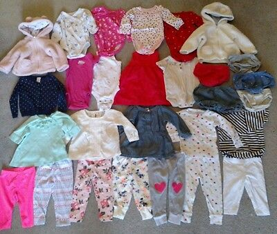 28 pc Lot Baby Girls Spring/Summer Clothes 9 months mos - Carters OshKosh B'Gosh