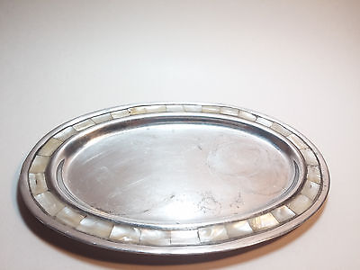 Small Oval Silver Plate Tray w/ Mother of Pearl Accent