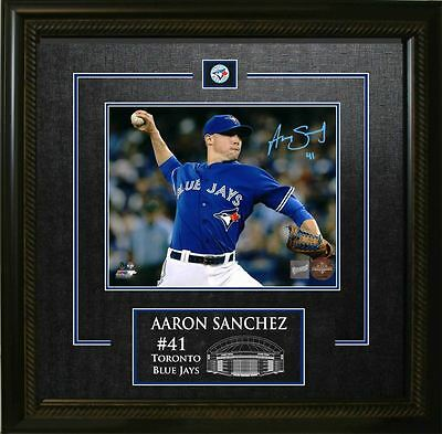 Aaron Sanchez - Signed & Framed 8x10 Etched Mat - Toronto Blue Jays Throwing Clo