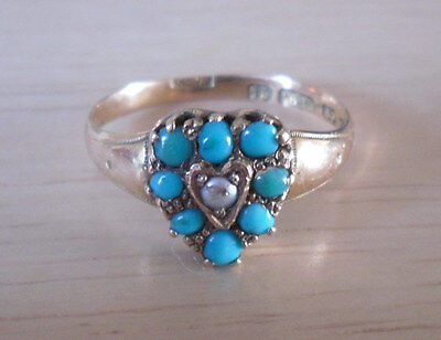 Victorian ring 15 carat gold turquoise & seed pearl heart shaped