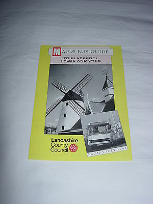 Lancashire County Council – Bus Map and Guide to Blackpool, Fylde Wyre July 1993