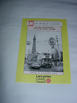 Lancashire County Council – Bus Map and Guide to Blackpool, Fylde Wyre Aug 1994