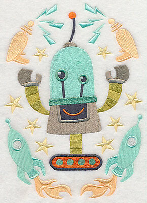 Embroidered Roy retro robot quilt block, fabric,cushion panel,quilt,robot