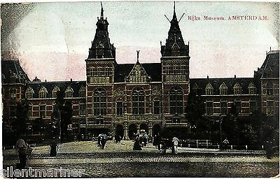 Amsterdam, Rijke Museum, old coloured postcard, posted 1909