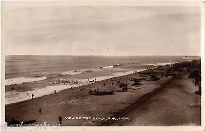 Puri, India, View of the Beach, old RP postcard dated 1928, unposted