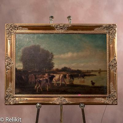 Large Antique Pastoral Cows 19th Century Oil Painting in Modern Frame Cattle