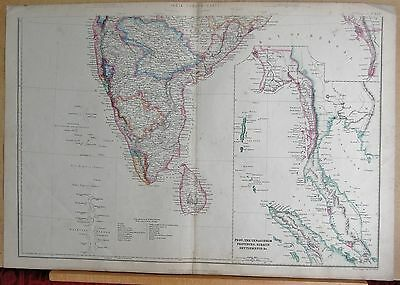 1860  Large Antique Map - India South, Pegu, Tenasserim Provinces, Straits Settl