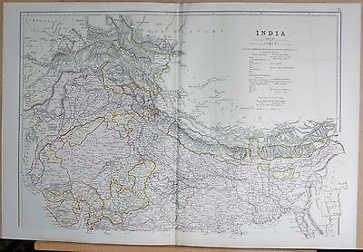 1882 Large Antique Map - India North Calcutta Hyderabad Kathmandu