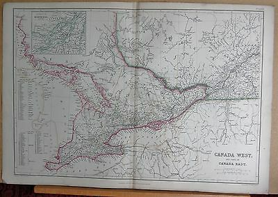 1860  Large Antique Map - Canada West And Part Of Canada East, Environs Of Montr