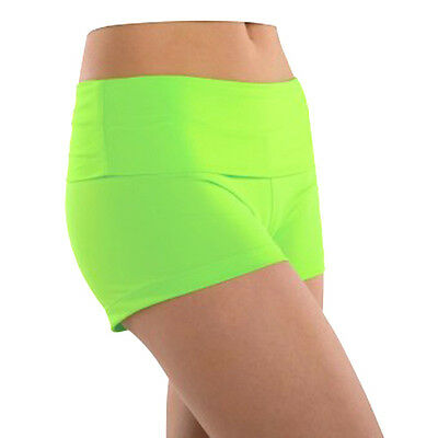 New Gia Mia Shorts Skating Gymnastics Dance Lime Green High Waist Youth 6 -8
