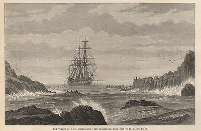1873 The Voyage Of Hms Challenger The Challenger Made Fast To St Pauls Rocks