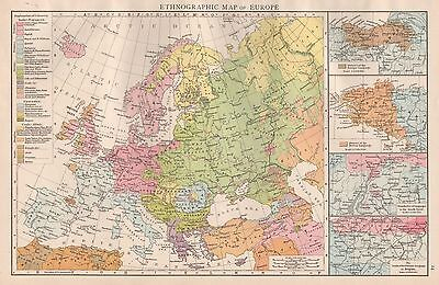 1896  Large Antique  Map : Ethnographic Map Of Europe