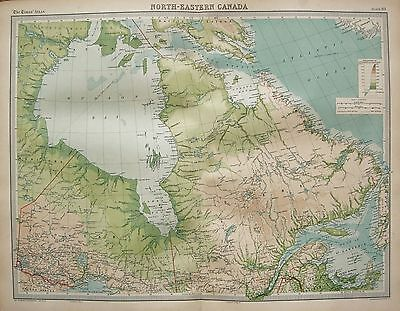 1920  Large  Map : Canada North East Ontario Quebec St Lawrence Hudson Bay