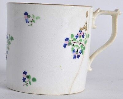 A fine antique 18th 19th c Derby coffee can tea cup painted with leaves  gilded