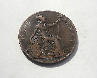 1913, Penny, George V. Good Condition.