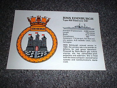 Royal Navy D97 Hms Edinburgh Type 42S  Destroyer Crest Postcard Unused~