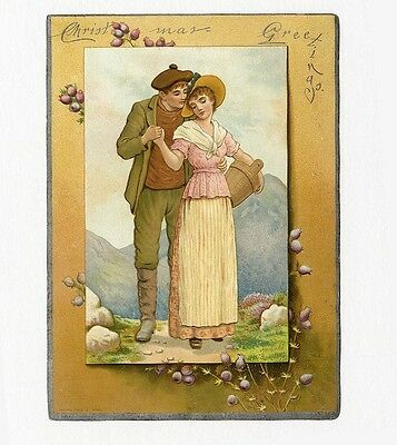 Raphael Tuck CHRISTMAS Victorian Greeting Card c 1890's Young Couple in Country