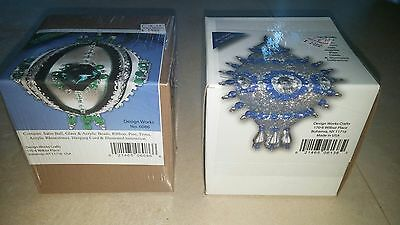 2 MARY MAXIM Bead Sequin Christmas Collector Ornament Kits RED & GREEN
