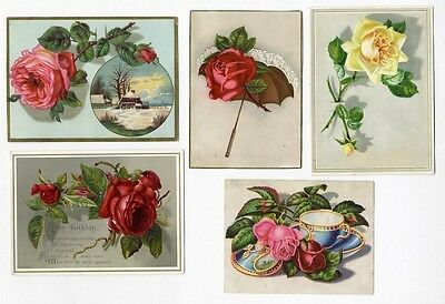 Beautiful VICTORIAN ROSE Greetings 5 Cards 1880's - Coffee Cup UMBRELLA Snow