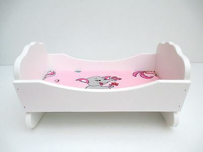 "Wooden toy cot cradle for dolls, toy rocking bed , 12,5"" long"