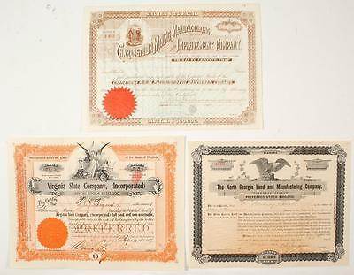 3 Southern Stock Certificates (1893-1907) - please inspect