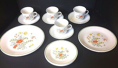 Vintage Corelle by Corning WILDFLOWER 16 Piece Dinnerware Set Plates Bowls Cups