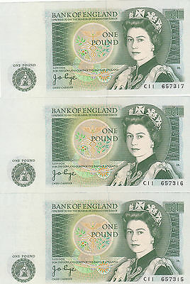 3 consecutive numbers Rare England One Pound Banknotes ISAAC NEWTON