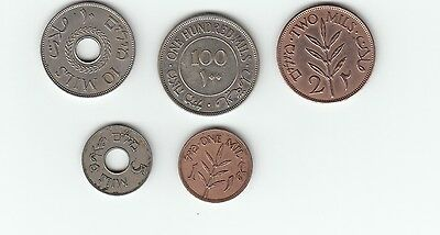 Palestine Mills full set 1/2/5/10 and 100 mills dated 1935/1939/1940/1940