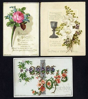 RAPHAEL TUCK - 3 Victorian Greeting Cards c 1880's EASTER and Valentine Floral
