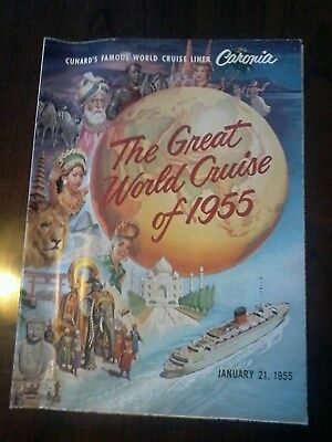 "Cunard Shiplines Caronia ""The Great World Cruise 1955"" with Deck plan"