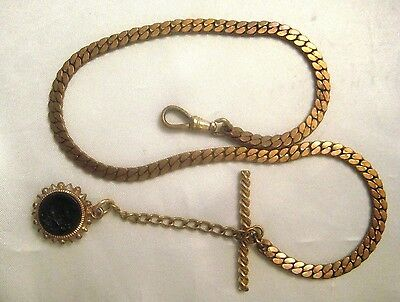 Antique Pocket Watch Chain With T-Bar Intaglio Fob And Swivel