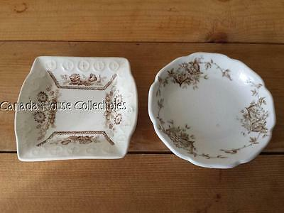 2 x Antique Porcelain Butter Dish - Johnson Bros Begonia & Mystery one?