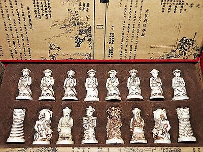 Exquisitely Handcrafted Antique Japanese Folk Art, Royal Warriors Chess Set