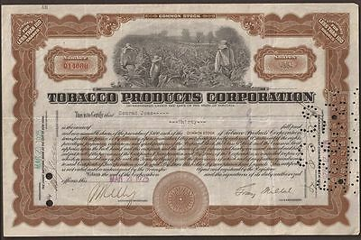 TOBACCO PRODUCTS CORPORATION Common Stock Certificate - 30 SHARES - NICE
