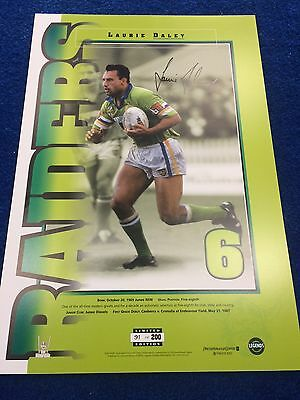 Laurie Daley Signed Canberra Raiders Limited Edition Nrl Numbers Up Print