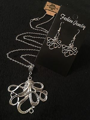"LARGE Octopus Necklace + Earrings *SET* 24""chain Silver Animal Unusual Steampunk"
