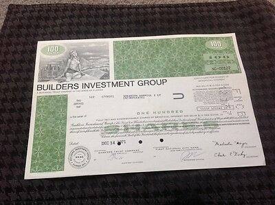 Cancelled Stock Certificate Builders Investment Group