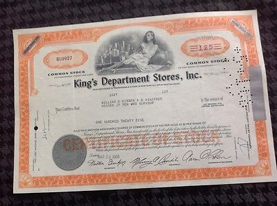 Cancelled Stock Certificate King's Department Stores Inc