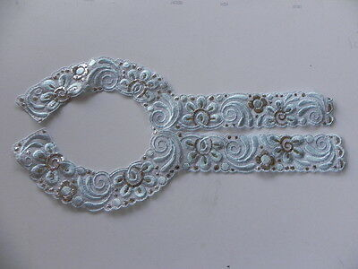 Embroidered Decorative Collar - Blue & Silver