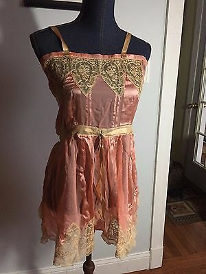 Vintage 1950's RIBBON SILK & LACE Pink NIGHT ROMPER, SLIP Nightgown size S