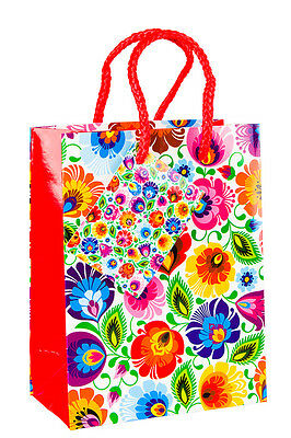 Luxury Gift Bags * Party Bag * Unique Folk Design  * White Gloss * With Handles