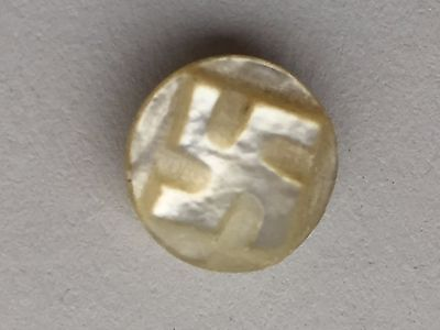 Vintage Mother of Pearl swastika button