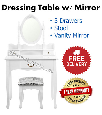 Dressing Table White Makeup Vanity Table Desk Wooden Bedroom Furniture Closet Th