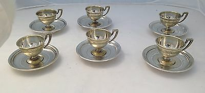 Silver Demitasse Cup & Saucer Silverplate Set Of 6 Beautifully Engraved