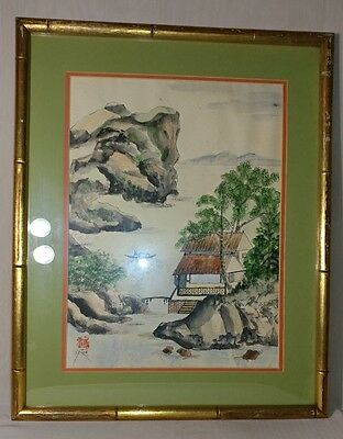 Vintage Chinese Watercolor Landscape Signed 1 Of 2