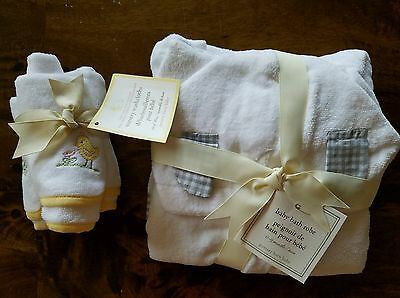 POTTERY BARN KIDS GRAY GINGHAM BABY BATH ROBE 0-9 MTHS 3 Chick Wash Cloths NEW