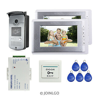 "FREE SHIPPING Wired 7"" Video Door Phone doorbell Intercom+RFID Camera+2 Monitors"