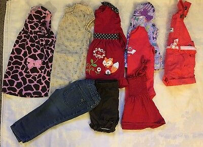 Lot Of 9 Baby Girl Clothes Size 12, 12-18, 18 Months