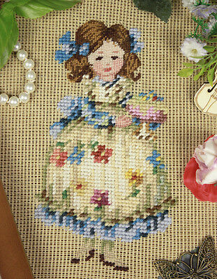 PREWORKED NEEDLEPOINT CANVAS Cute Little Girl In Beautiful Dress